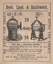 Advert For Heyes, Lloyd & Shuttleworth Domestic Comforts reverse